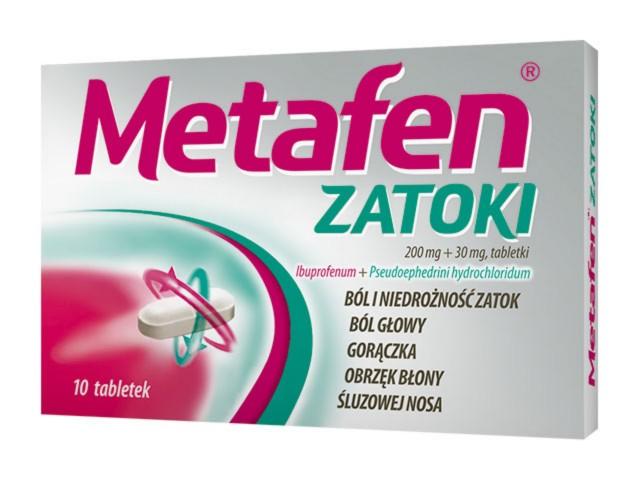 Metafen Zatoki interakcje ulotka tabletki 0,2g+0,03g 10 tabl.