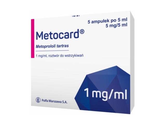 Metocard interakcje ulotka roztwór do wstrzykiwań 1 mg/ml 5 amp. po 5 ml