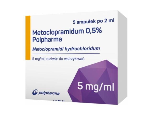 Metoclopramidum 0,5% Polpharma interakcje ulotka roztwór do wstrzykiwań 0,01 g/2ml 5 amp. po 2 ml