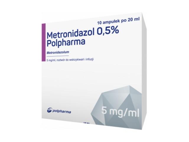 Metronidazol 0.5% Polpharma interakcje ulotka roztwór do wstrzykiwań i infuzji 5 mg/ml 10 amp. po 20 ml