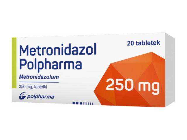 Metronidazol Polpharma interakcje ulotka tabletki 0,25 g 20 tabl.