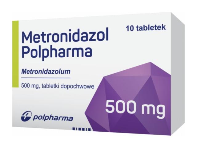 Metronidazol Polpharma interakcje ulotka tabletki dopochwowe 0,5 g 10 tabl.
