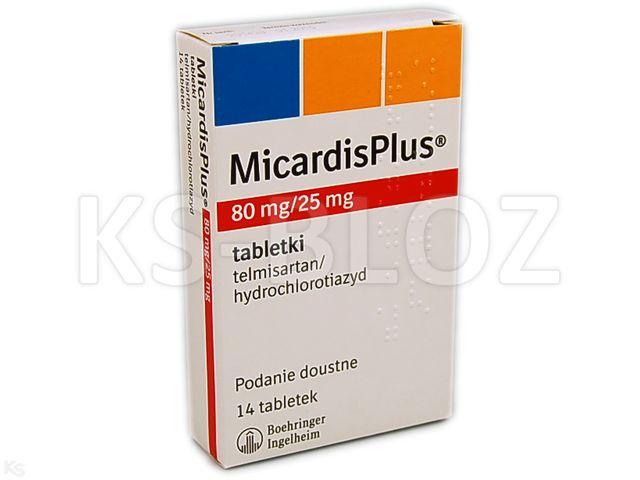 MicardisPlus interakcje ulotka tabletki 0,08g+0,025g 14 tabl. | blist.OPA/Alu/PVC