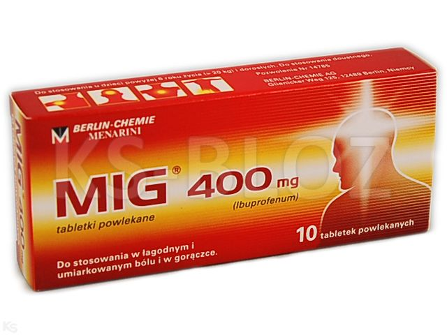 MIG interakcje ulotka tabletki powlekane 0,4 g 10 tabl.