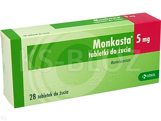 Monkasta interakcje ulotka tabletki do rozgryzania i żucia 5 mg 28 tabl.