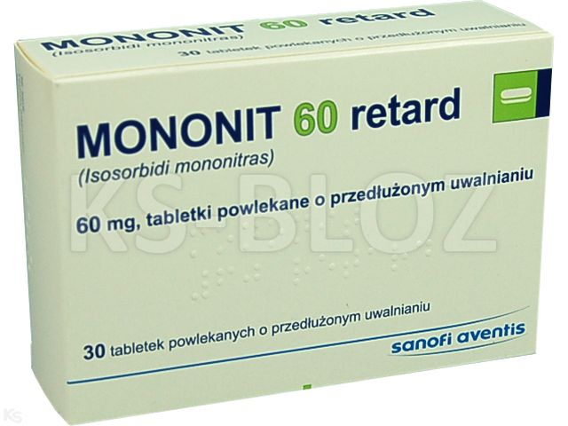 Mononit 60 retard interakcje ulotka tabletki powlekane o przedłużonym uwalnianiu 0,06 g 30 tabl.