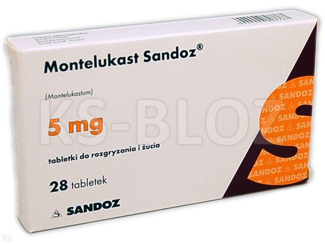 Montelukast Sandoz interakcje ulotka tabletki do rozgryzania i żucia 5 mg 28 tabl.