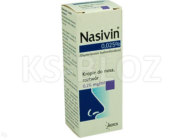 Nasivin 0.025% interakcje ulotka krople do nosa, roztwór 0,25 mg/g 10 ml