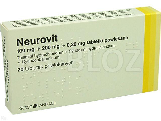Neurovit interakcje ulotka tabletki powlekane 0,1g+0,2g+0,2mg 20 tabl. | blister