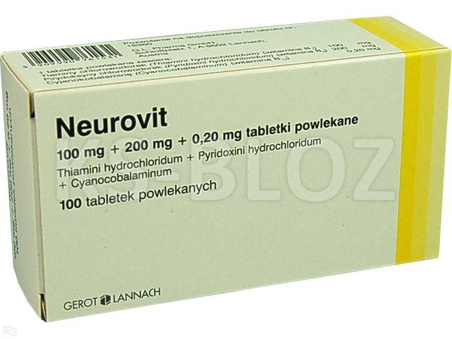 Neurovit interakcje ulotka tabletki powlekane 0,1g+0,2g+0,2mg 100 tabl.