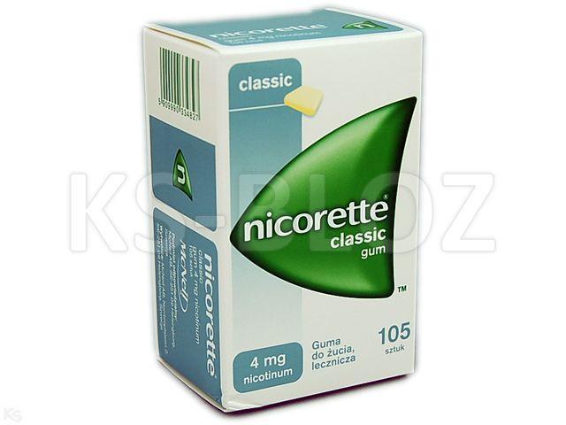 Nicorette Classic Gum interakcje ulotka guma do żucia lecznicza 4 mg 105 szt.