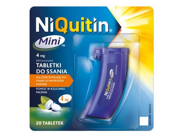 NiQuitin Mini interakcje ulotka tabletki do ssania 4 mg 20 tabl.
