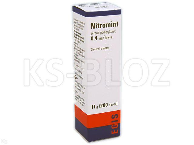 Nitromint interakcje ulotka aerozol podjęzykowy 0,4 mg/daw. 11 g