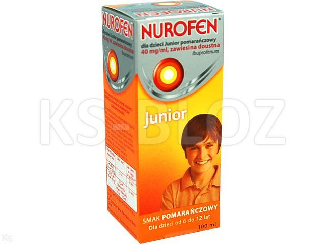 Nurofen dla dzieci JUNIOR pomarańczowy interakcje ulotka zawiesina doustna 0,04 g/ml 100 ml