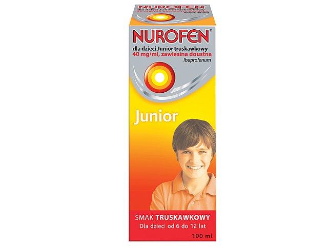 Nurofen dla dzieci JUNIOR truskawkowy interakcje ulotka zawiesina doustna 0,04 g/ml 100 ml