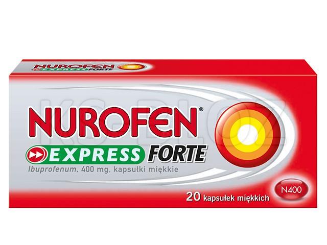 Nurofen Forte Caps (Nurofen Express Forte) interakcje ulotka kapsułki elastyczne 0,4 g 20 kaps.