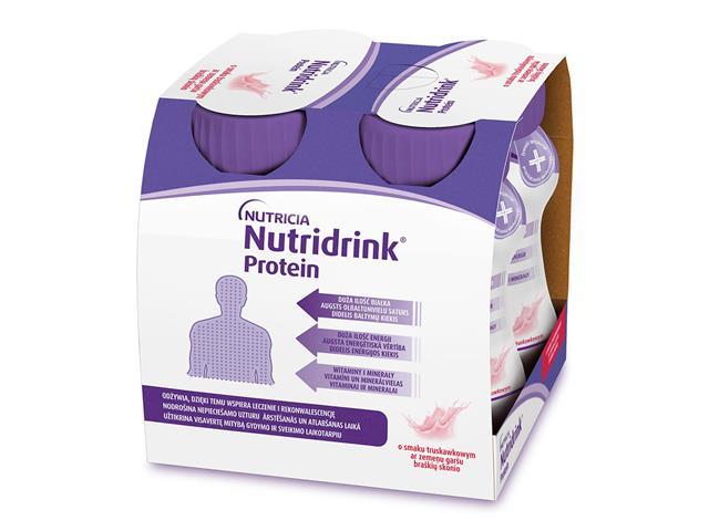 Nutridrink Protein o sm. truskawkowym interakcje ulotka płyn  4 szt. po 125 ml
