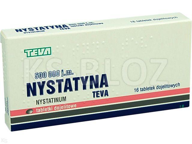 Nystatyna TEVA interakcje ulotka tabletki dojelitowe 500 000 I.U. 16 tabl.