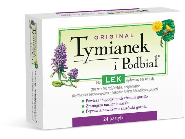 Original Tymianek i Podbiał interakcje ulotka pastylki twarde 0,1g+0,1g 24 pastyl.