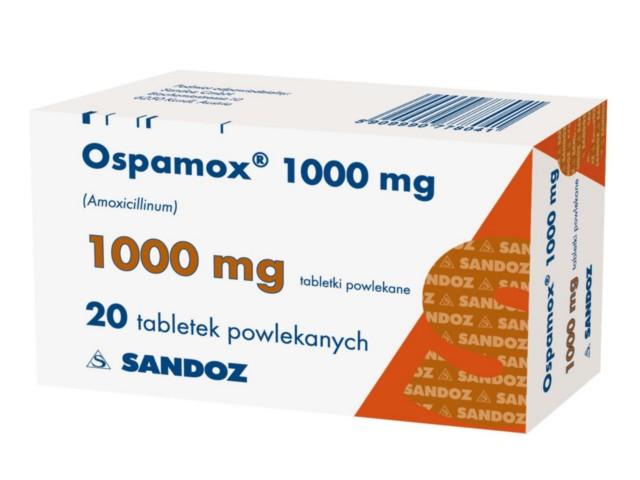 Ospamox 1000 mg interakcje ulotka tabletki powlekane 1 g 20 tabl.