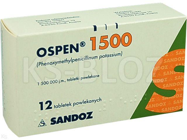 Ospen 1500 interakcje ulotka tabletki powlekane 1 500 000 I.U. 12 tabl.