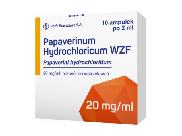 Papaverinum hydrochl. WZF interakcje ulotka roztwór do wstrzykiwań 0,02 g/ml 10 amp. po 2 ml