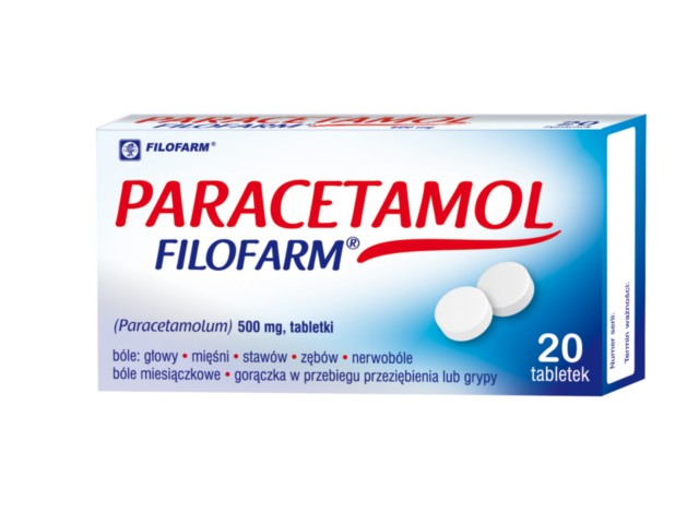 Paracetamol Filofarm interakcje ulotka tabletki 0,5 g 20 tabl. | blister