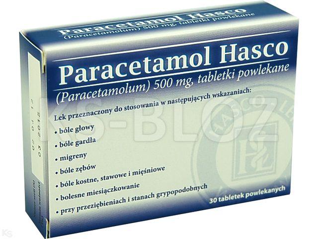 Paracetamol Hasco interakcje ulotka tabletki powlekane 0,5 g 30 tabl.