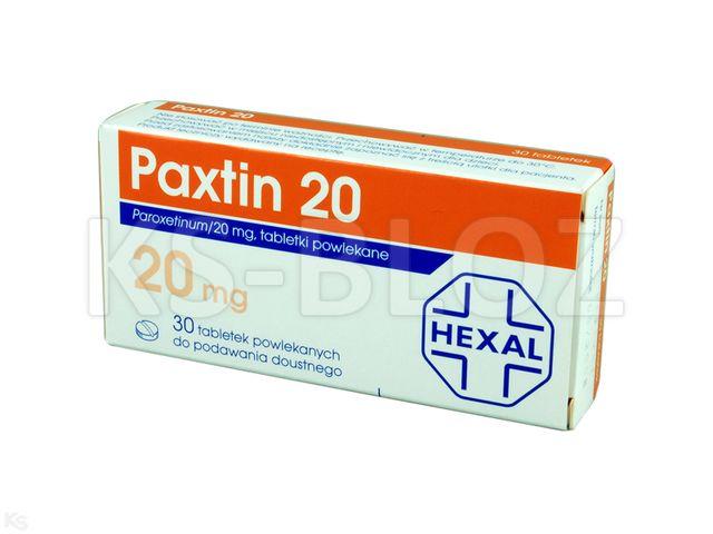 Paxtin 20 interakcje ulotka tabletki powlekane 0,02 g 30 tabl.