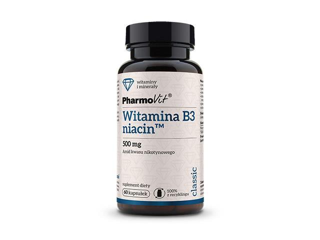 PHARMOVIT Witamina B3 niacin 500 mg interakcje ulotka kapsułki  60 kaps.