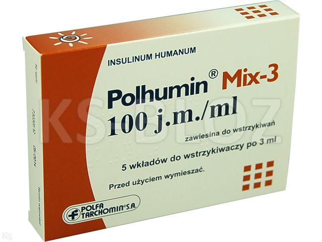 Polhumin Mix-3 interakcje ulotka zawiesina do wstrzykiwań 100 j.m./ml 5 wkł. po 3 ml