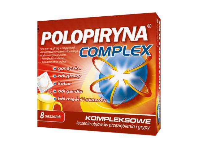 Polopiryna Complex interakcje ulotka proszek do sporządzania roztworu doustnego 0,5g+0,01558g+2mg 8 sasz.