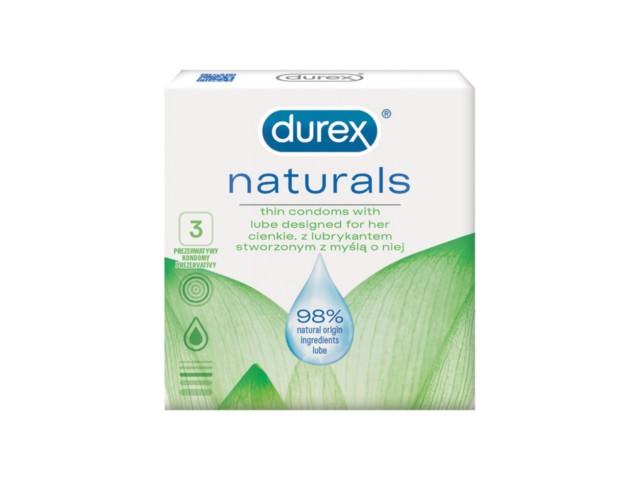 Prezerwatywy DUREX Naturals interakcje ulotka   3 szt.