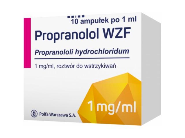 Propranolol WZF interakcje ulotka roztwór do wstrzykiwań 1 mg/ml 10 amp. po 1 ml