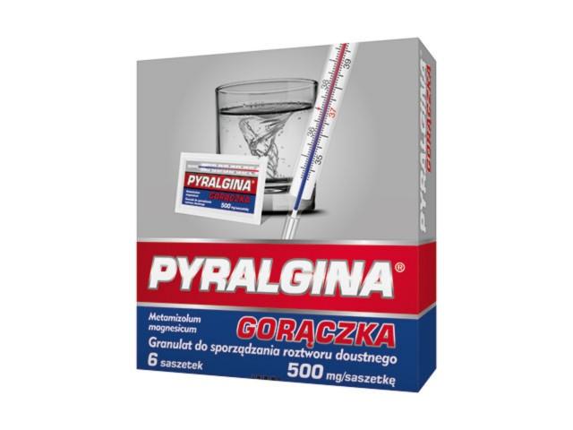 Pyralgina Gorączka interakcje ulotka granulat do sporządzania roztworu doustnego 0,5 g/sasz. 6 sasz. po 1.168 g