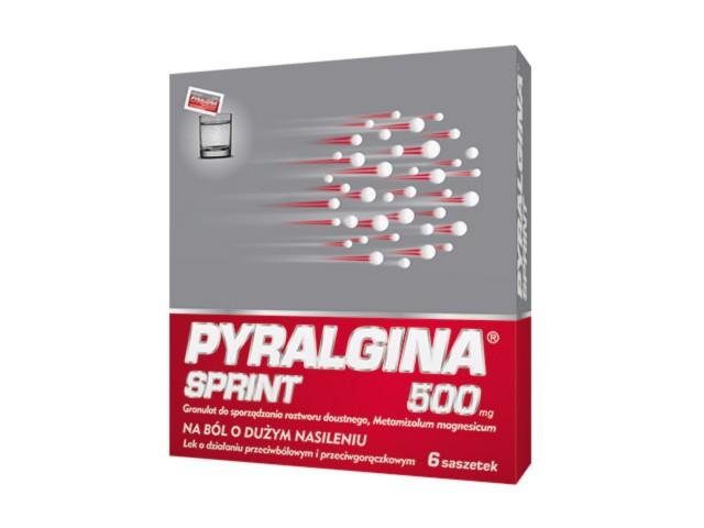 Pyralgina Sprint interakcje ulotka granulat do sporządzania roztworu doustnego 0,5 g/sasz. 6 sasz. po 1.168 g | granul.