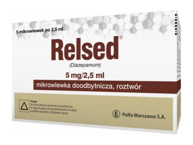 Relsed interakcje ulotka mikrowlewka doodbytnicza, roztwór 2 mg/ml 5 wlew. po 2.5 ml