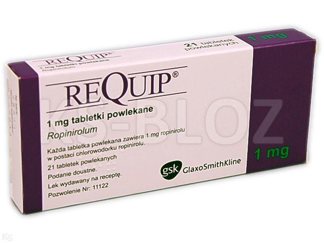 Requip interakcje ulotka tabletki powlekane 1 mg 21 tabl.