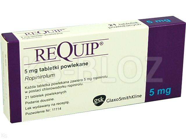 Requip® interakcje ulotka tabletki powlekane 5 mg 21 tabl. | 1 blist.a 21 szt.