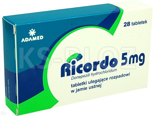 Ricordo interakcje ulotka tabletki ulegające rozpadowi w jamie ustnej 5 mg 28 tabl.