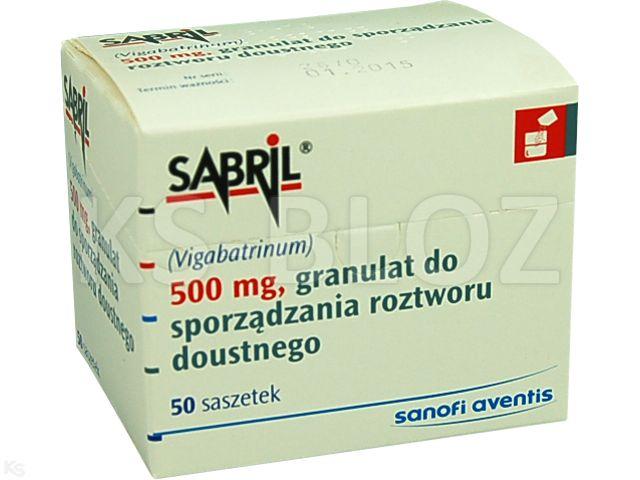 Sabril interakcje ulotka granulat do sporządzania roztworu doustnego 0,5 g 50 sasz.