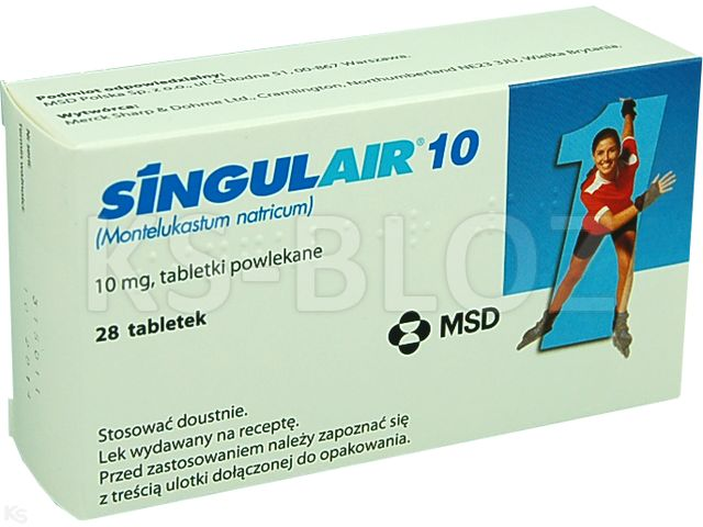 Singulair 10 interakcje ulotka tabletki powlekane 0,01 g 28 tabl.