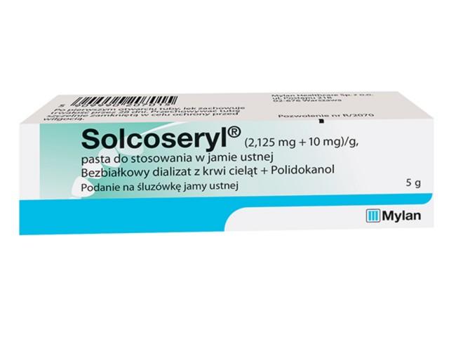 Solcoseryl interakcje ulotka pasta do stosowania w jamie ustnej (2,125mg+0,01g)/g 5 g