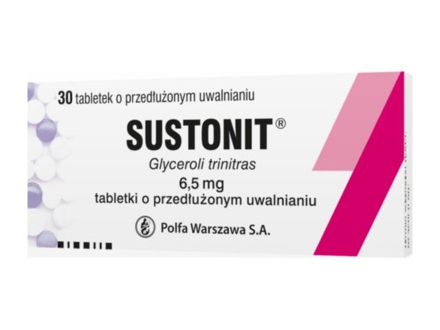 Sustonit interakcje ulotka tabletki o przedłużonym uwalnianiu 6,5 mg 30 tabl.