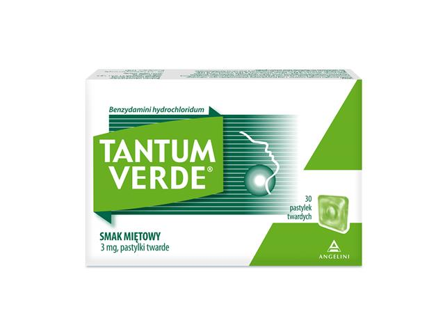 Tantum Verde smak miętowy interakcje ulotka pastylki twarde 3 mg 30 pastyl.