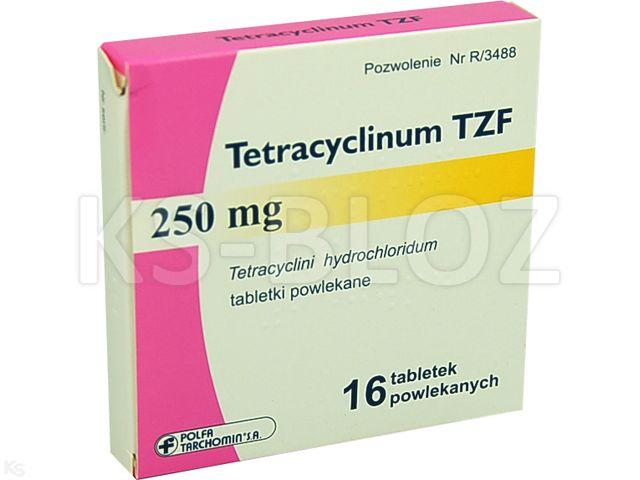 Tetracyclinum TZF interakcje ulotka tabletki powlekane 0,25 g 16 tabl.