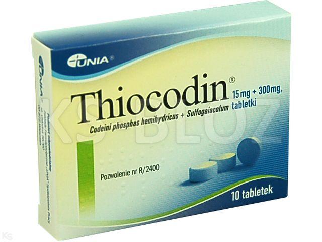 Thiocodin interakcje ulotka tabletki 0,015g+0,3g 10 tabl.