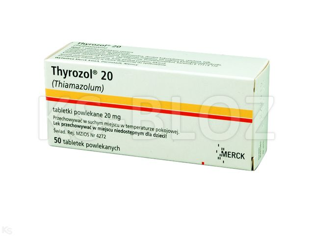 Thyrozol 20 interakcje ulotka tabletki powlekane 0,02 g 50 tabl.
