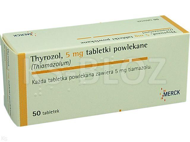 Thyrozol interakcje ulotka tabletki powlekane 5 mg 50 tabl.