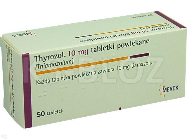Thyrozol interakcje ulotka tabletki powlekane 0,01 g 50 tabl.